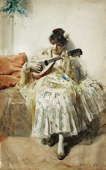 """Girl Playing Mandolin"" by Anders Leonard Zorn (1884)"