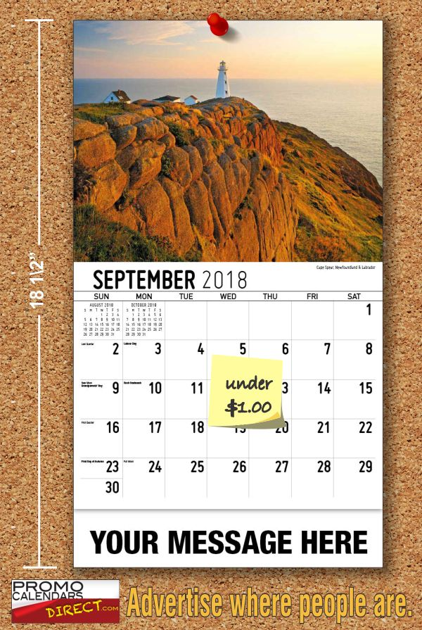 How to promote your business with Personalized Atlantic Canada Scenic Advertising Calendars  One of the most powerful marketing approaches is called ''Viral Marketing'' where you tell two friends and they tell two friends, and so on. Give each of your current customers an extra Personalized Maritime Province Calendar with your Business, Organization or Event Name, Logo and Message to pass on to their friends. This is a very strong personal refe... see more at www.promocalendarsdirect.com