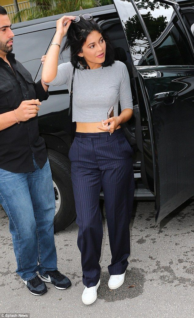 Midriff-baring Kylie Jenner pairs pinstripes with gym wear in Miami - Kylie Jenner Style