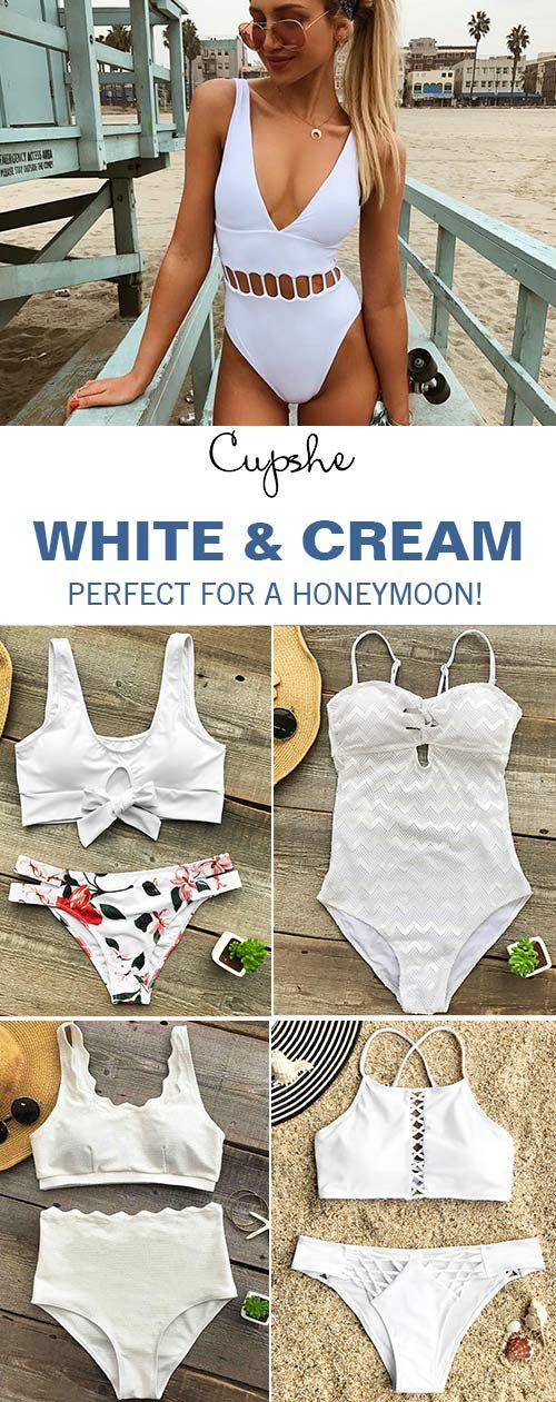 """A white bikini is without equal when showing off a tan. To stand out from the crowd on the beach, a classic must also be sophisticated. To find a white swimsuit that is """"just right"""" that will be indispensable in enhancing your look this summer."""