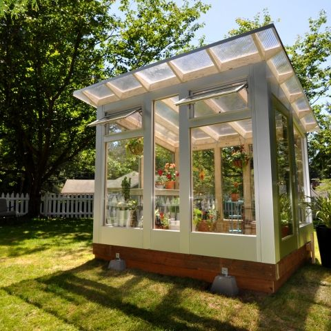 Studio Sprout - Our technically optimized, modern greenhouse: 8'x8′, 8'x10′, 8'x12′  Construction: Pressure treated LSL framing and Zip System / Aluminum clad wall panels Full-spectrum double pane glass