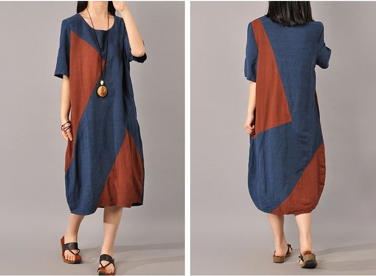 Cotton Linen Short Sleeve Summer Dress