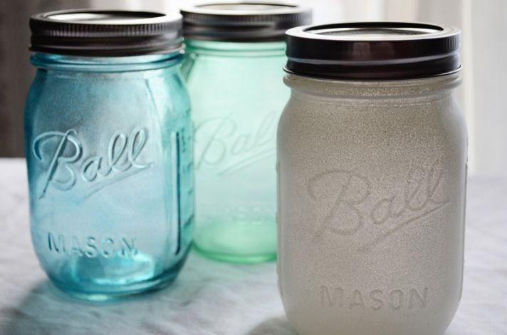 painted mason jars for vintage weddings aqua silver