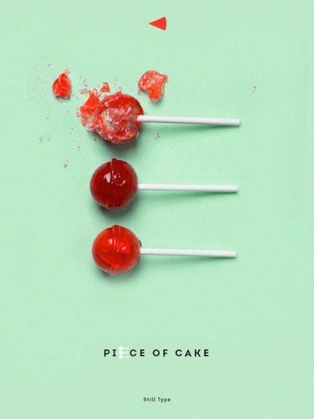 Letter E made with lollipops ~~~ Lettre E faite avec des sucettes ~~~ #red #rouge #cherry #cerise #typography #typographie ~~~ Source : Luda Galchenko ~~~ Piu Design