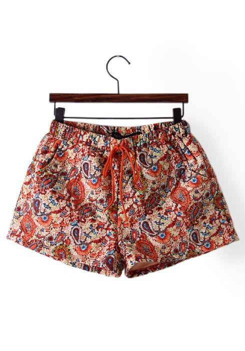 Multicolor Flowers Drawstring Waist Short Cotton Blend Pants