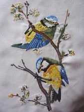 SWEETEST VINTAGE HAND EMBROIDERED PANEL..BLUE TIT BIRDS..RE-WORK TEXTILE PROJECT - $17.38