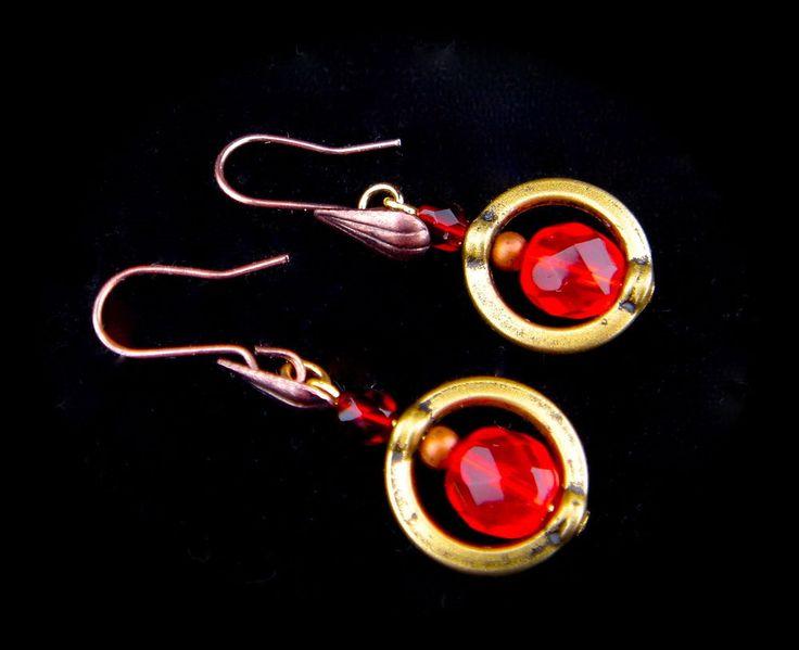 Vintage Earrings Czech Glass Bronze Gold Tone Hook Drop Dangle Red Christmas #Unbranded #DropDangle