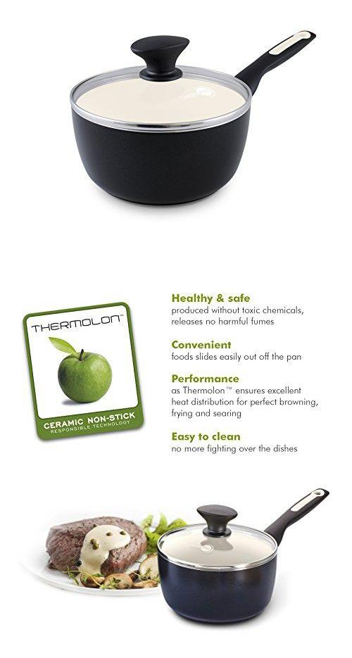 GreenPan Rio 2QT Ceramic Non-Stick Covered Saucepan, Black