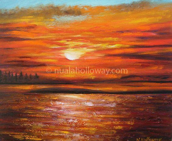 """""""Sunset in Connemara"""" by Nuala Holloway - Oil on Canvas #Connemara #OilPainting #Ireland"""