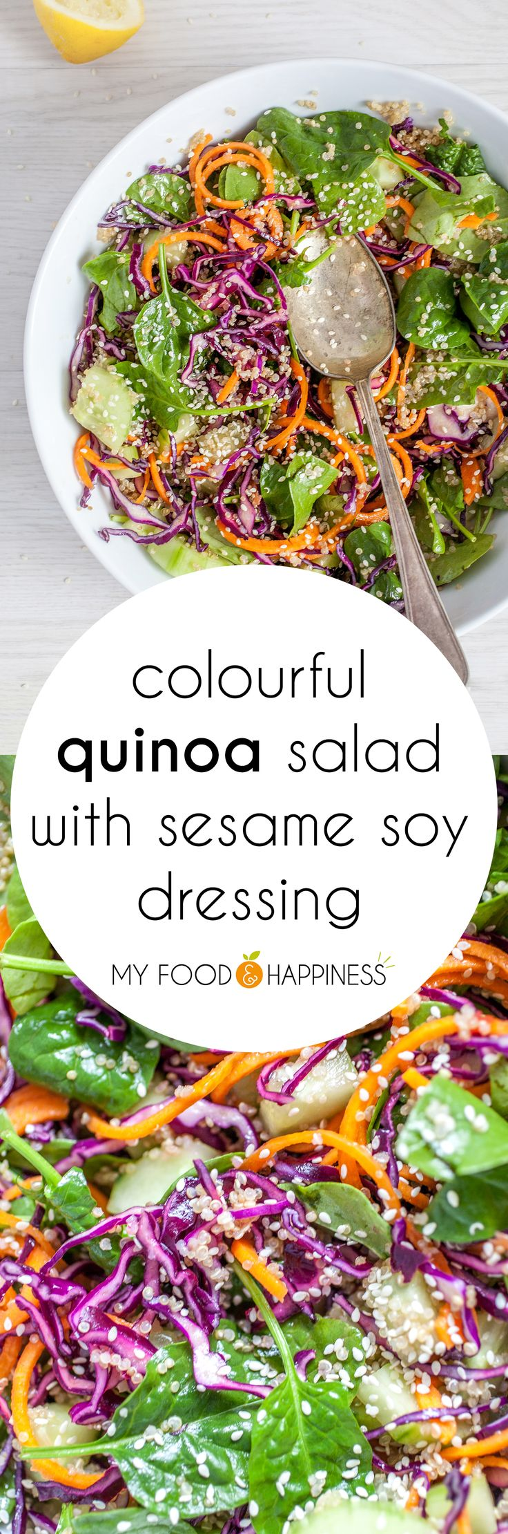 Super flavourful Quinoa salad with Sesame Soy dressing. A nutritious vegan salad with colourful spiralized veggies, protein-rich quinoa, spinach and lots of sesame flavour.