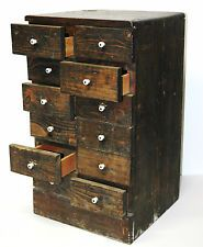 Vintage CHEST OF 12 DRAWERS Hardware TOOL BOX Apothecary Cabinet SPICE Cubbies