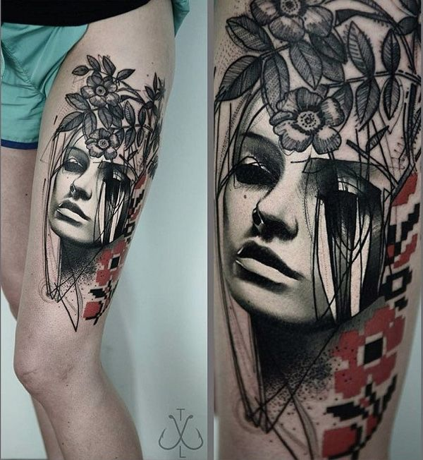 Portrait and flower thigh tattoo - If you're looking for a bizarre yet wonderful portrait for a tattoo design, this one suits you well. It's a 3D portrait of a woman with half her face randomly sketched on and pixelated flowers. The random lines across her face looks more gothic and beautiful.