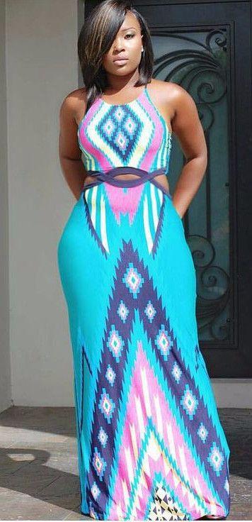 Plus Size Sleeveless African Dashiki Bodycon Maxi Dress ...