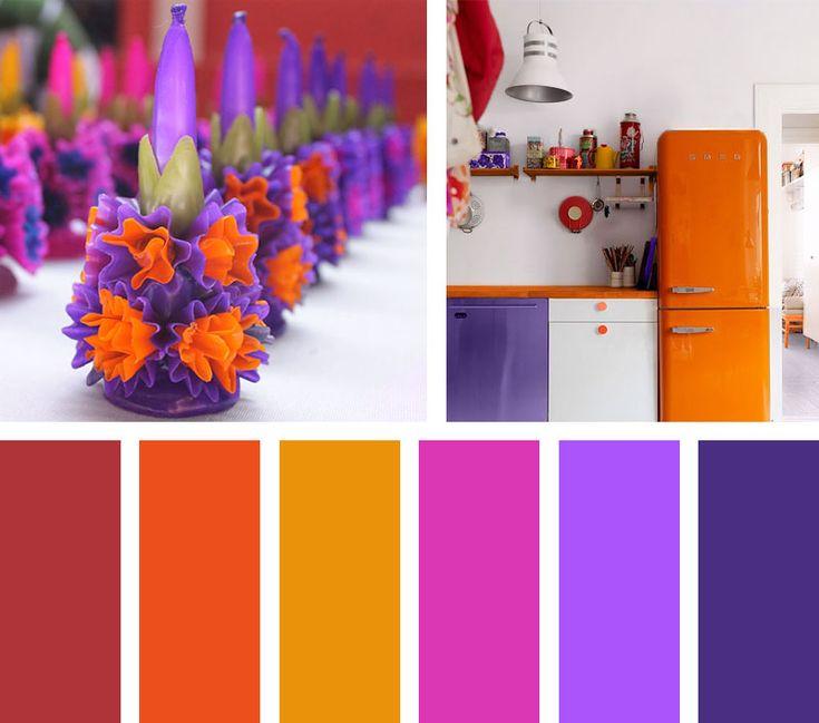 Una paleta de colores, que mezcla las tonalidades del cempasúchil y el naranja de la calabaza de halloween con colores morados que radian intensidad.  Espacio Vía: http: myhome.ru