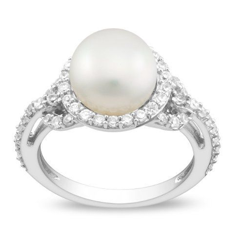 Sterling Silver 1 CT TGW White Cubic Zirconia White Freshwater Pearl Fashion Ring (8.5 - 9 mm) Amour. $50.00
