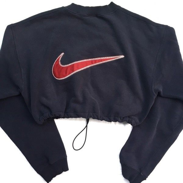 Reworked Nike Crop Sweatshirt Back 2 Back Navy ($48) ❤ liked on Polyvore featuring tops, activewear, outerwear, nike, nike activewear and nike sportswear