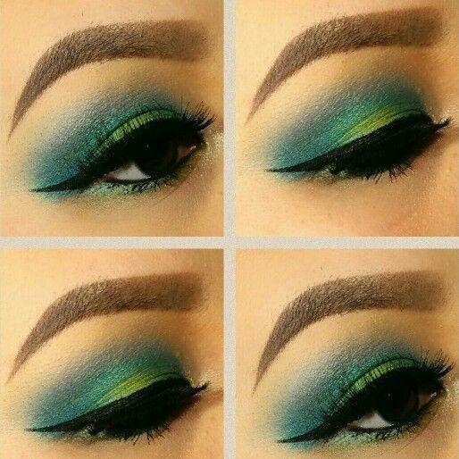 Teal, green, turquoise eyeshadow