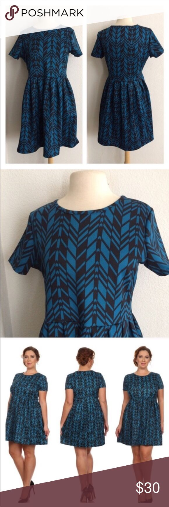 "2 LEFT! (Plus) Blue chevron dress Blue/ black dress. The bottom half is very roomy and the top half has a bit of stretch. 96% polyester/ 4% spandex. True to size. Dress shown in photos is size 1x. Bust stretches well beyond each measurement. May require a slip.  2x- L: 37"" • B: 40"" 3x- L: 38"" • B: 42"" 2x•3x • 1•1 ⭐️This item is brand new with manufacturers tags, boutique tags, or in original packaging. 🚫NO TRADES 💲Price is firm unless bundled 💰Ask about bundle discounts Dresses"