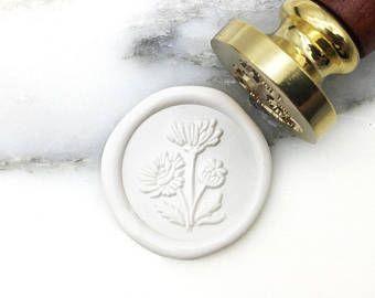 MR Botanical Wax Seal Stamp Poppy August Birth Flower Wedding Invitation Seal