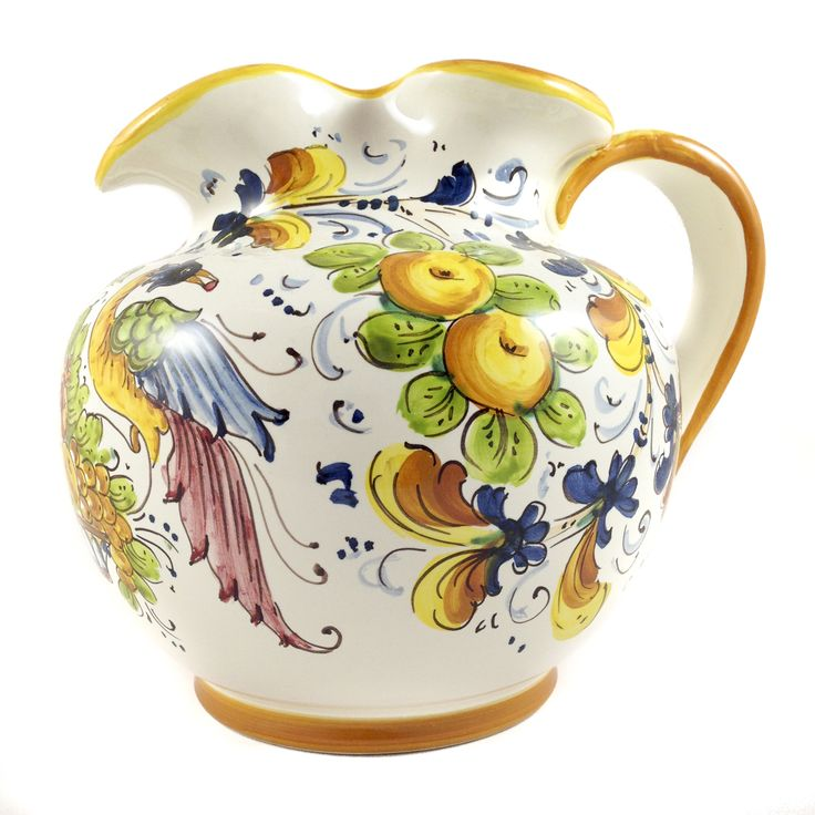 Birds of Paradise Majolica Pitcher. Made in Italy outside of florence by Borgioli. Completely Hand Painted using traditional mineral paints.