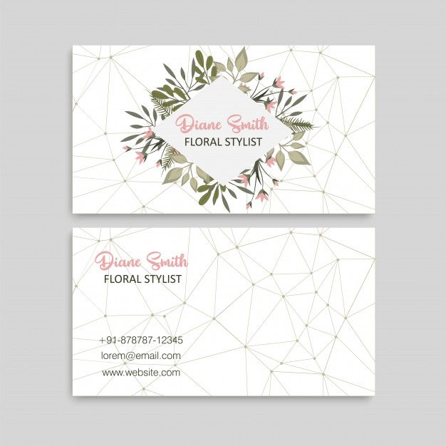 Cute Floral Pattern Business Card Name Card Design Template Business Card Pattern Name Card Design Letterpress Business Cards
