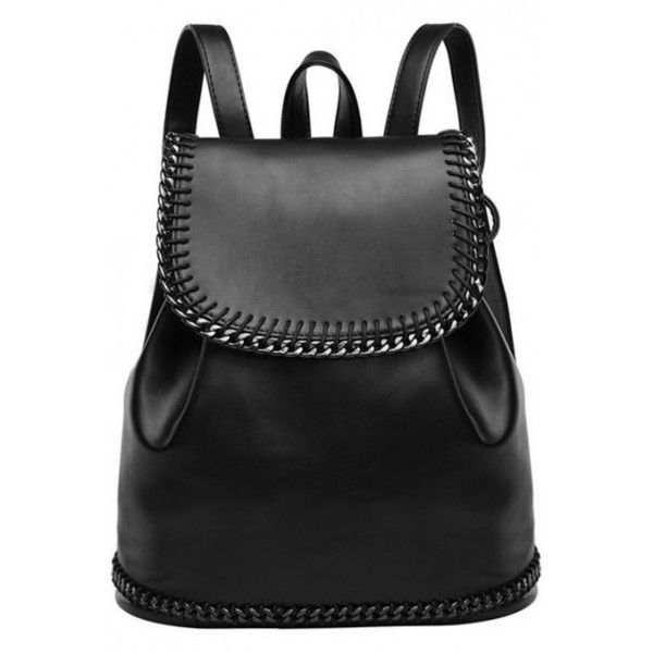 LUCLUC Black London Style Metallic Backpacks Expandable Bags found on Polyvore featuring bags, backpacks, backpack, rucksack bag, expandable bag, black knapsack, black rucksack and knapsack bags