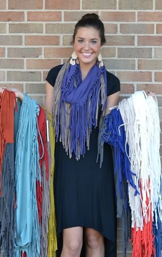 Fringe Infinity Scarf,  Multiple Colors