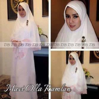 Busana muslim syar'i putih maxi olla ramlan Km216