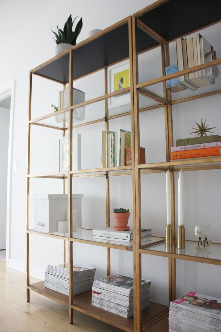 brass and glass - loving the ikea shelf hack! I'd cover the bottom of the top in a fun paper. Hopefully in my living room soon!