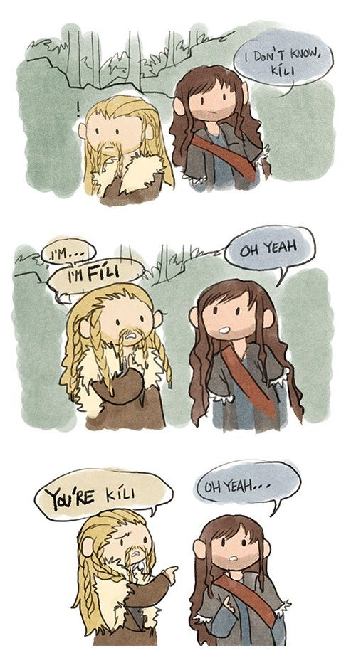 Fili and Kili (what Dean O'Gorman and Aiden Turner said they said). This is so perfect.