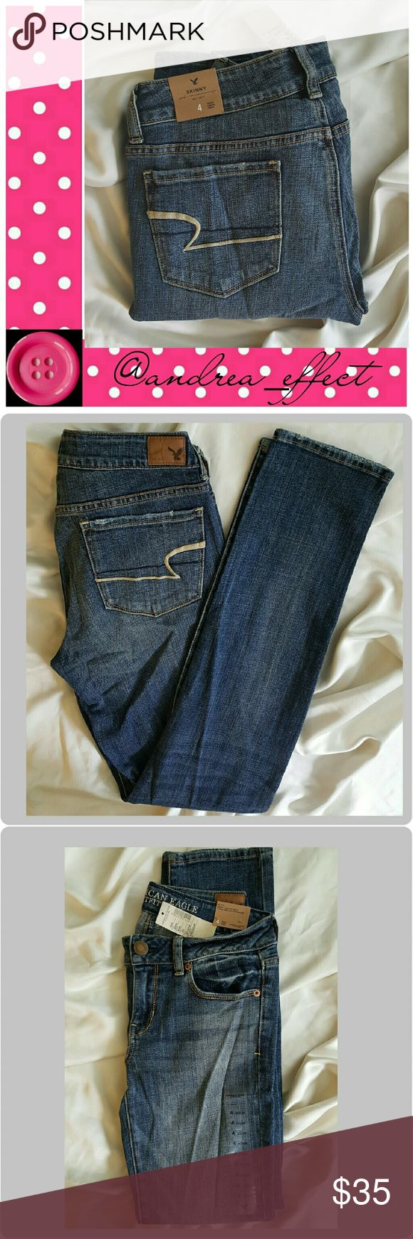 American Eagle Skinny. Size 4. NWT Skinny Jeans Style - Heritage Medium. Style #8140.  Distressed look. American Eagle Outfitters Jeans Skinny