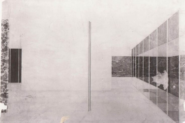 Drawing by Mies Van der Rohe showing the interior of the Barcelona Pavilion.
