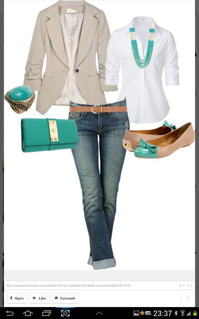 blue jeans, white dress shirt, tan jacket, turquiose accessories LOLO Moda: Elegant ladies fashion   See more about white dress shirts, tan jacket and dress shirts.