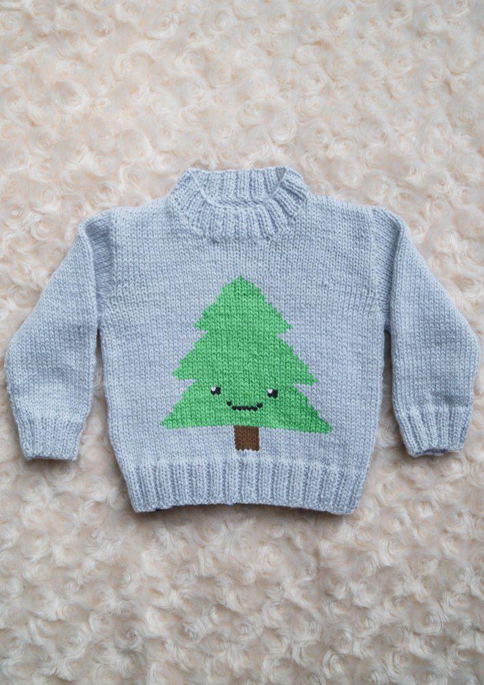 Intarsia Simple Christmas Tree Chart Childrens Sweater Knitting Pattern By Instarsia Sweater Knitting Patterns Jumper Knitting Pattern Baby Hats Knitting