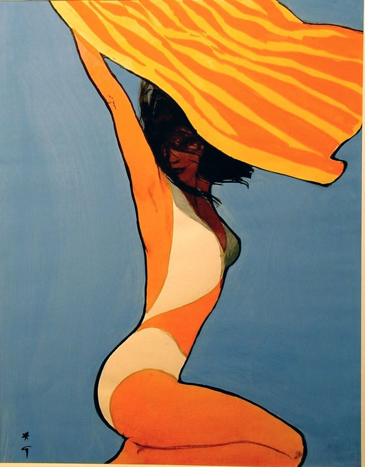 Fashion illustration by Rene Gruau.  Like the shadow over the figure's face. Great color palette.