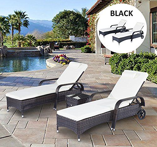 outsunny garden rattan furniture 3 pc sun lounger recliner bed chair set with side table patio