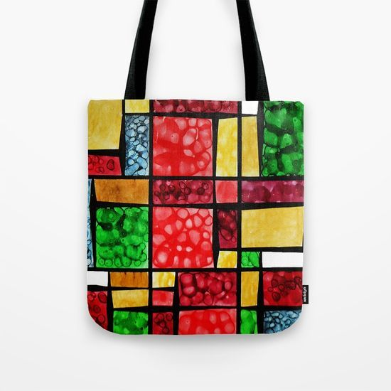 Abstract, square, qubism, red, Crucifixion, crown of thorns, Jesus, Christ Tote Bag