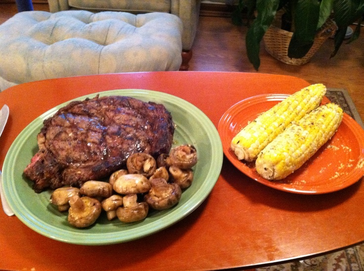 Parmesan garlic grilled corn, garlic olive oil grilled mushroom, and a ...