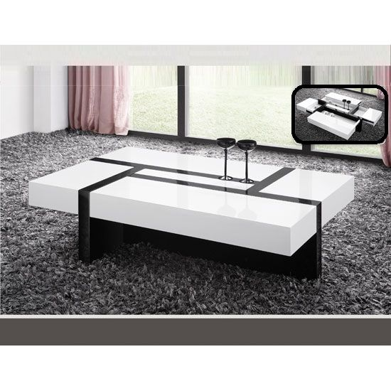 Storm Coffee Table In White And Black High Gloss With 4
