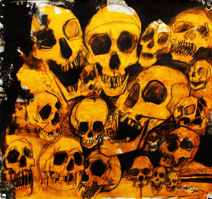 Fine Art,oil painting,skulls,The Night Out,55x56cm,Lucinda Lyons Oxford Scholar