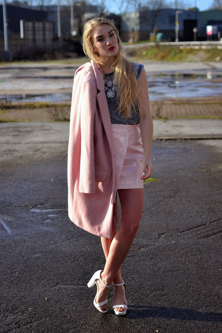 #RosieGlow wears #Accessoryo #pastel #pink gem #necklace! Styled with #FashionUnion #coat, #LilyLulu #PVC #skirt, #Primark #tshirt and #Zara #heels! #fbloggers
