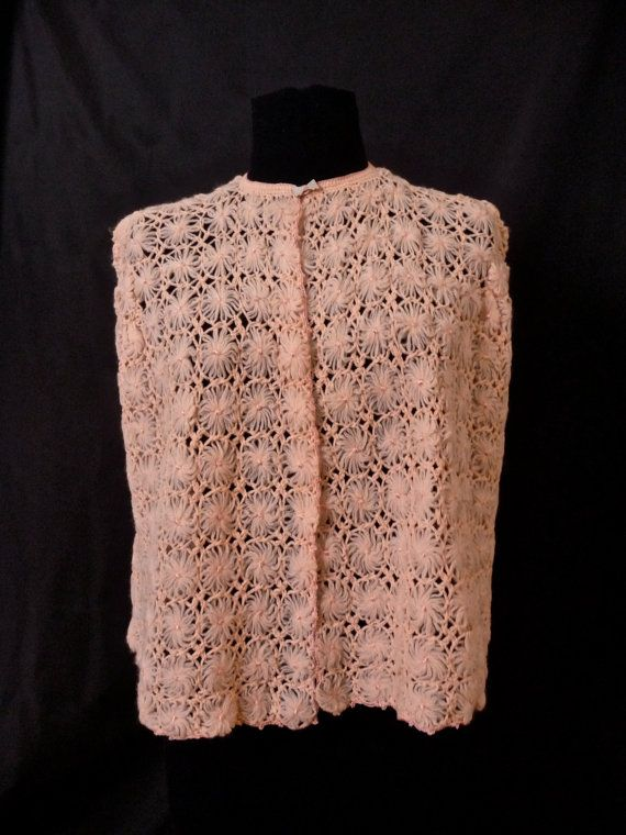 Vintage New Pink Daisy Crochet Bed Jacket Cape