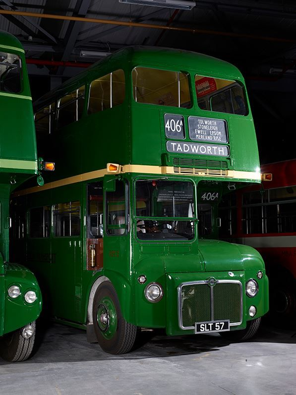 An old London bus at the TfL archives.