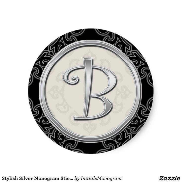 Stylish Silver Monogram StickerInitial B Classic Round