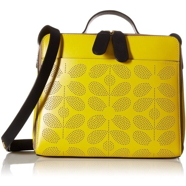 Orla Kiely Sixties Stem Punched Leather Iris Convertible Shoulder Bag (10 840 UAH) ❤ liked on Polyvore featuring bags, handbags, shoulder bags, shoulder handbags, leather shoulder handbags, top handle handbags, yellow shoulder bag and structured handbag