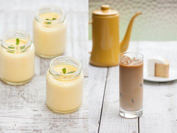 銀座みもざ館 特製ハチミツプリン(左)とアイスハニーミルクコーヒー(右)