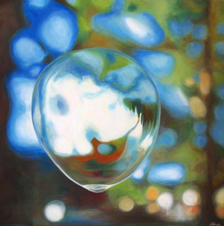 Rachelle Kearns - 'Bubbly' - Bubble #9  Acrylic paint on canvas 40 x 40 inches #bubble #painting #light