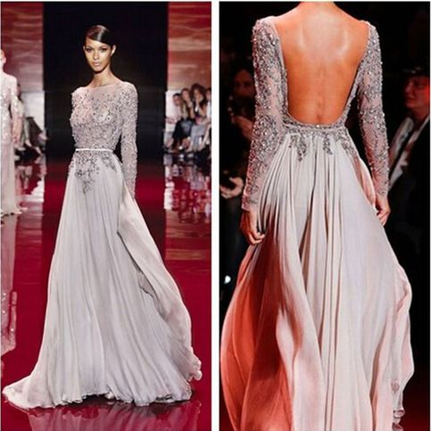 Long sleeve prom dress, open back prom dress, gorgeous prom dress, evening party dress, affordable prom dress, fashion long prom dresses
