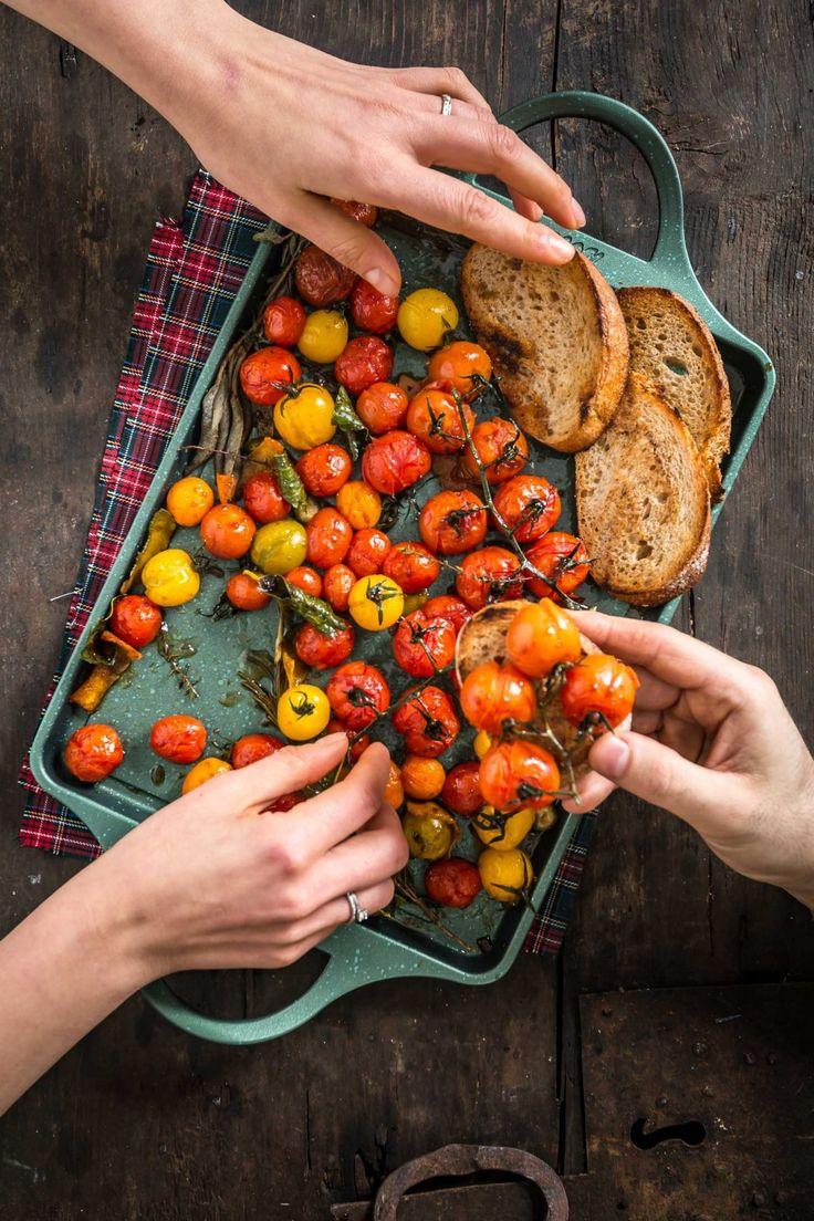 bruschette con pomodorini confit agli agrumi