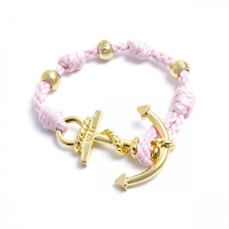 Adjustable Bracelet (up to 22 cm) spheres and anchorto choose between silver or gold. Bracelet Color: Pink Made in Italy